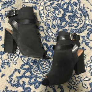 JustFab Lurina peep toe booties